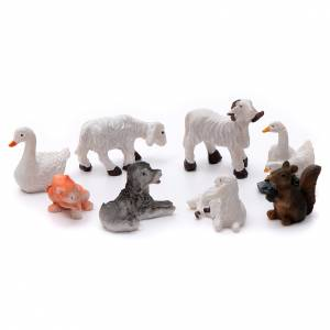 Animales para el pesebre: Animales 8 piezas resina pintada para belén 10 cm