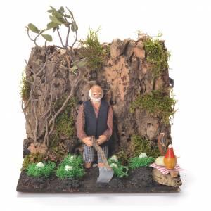 Animated man Hoeing, 10cm Neapolitan Nativity s1