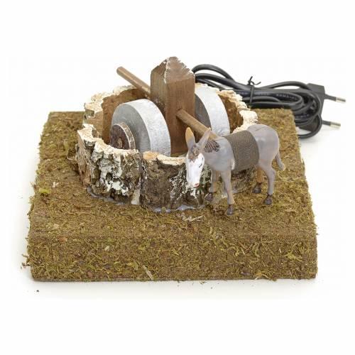 Animated nativity scene figurine, 12 cm donkey at the grindstone s1