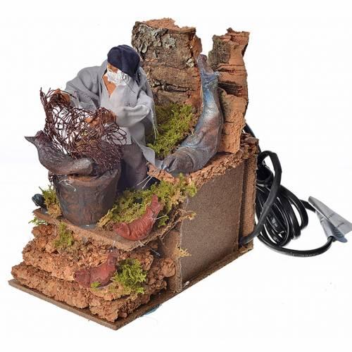 Animated nativity scene figurine, fisherman with net 8cm s3