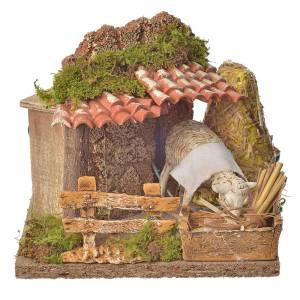 Animated nativity scene figurine, sheep and straw stack 15-25cm s5
