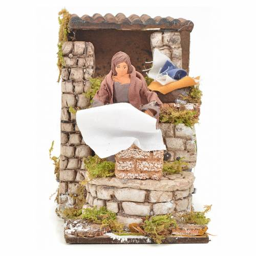 Animated nativity scene figurine, washerwoman 8cm s1