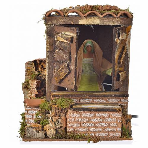Animated nativity scene figurine, woman opening window 12cm s1