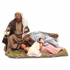 Neapolitan Nativity Scene: Animated Neapolitan Nativity figurine Holy family lying down 24cm