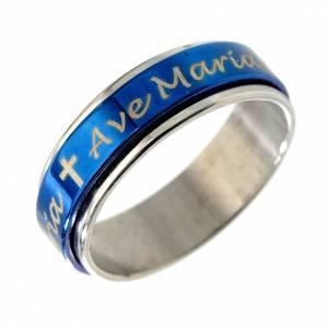 Bagues religieuses: Bague pivotante Ave Maria bleu INOX