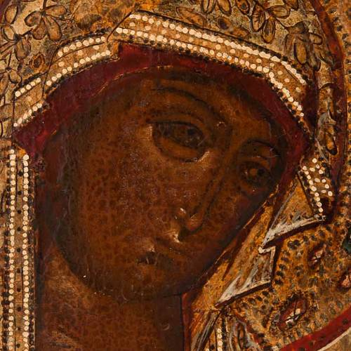 Antique Russian icon, Our Lady of Deesis XVIII century s4