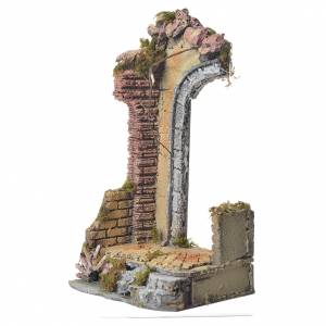Antique temple with half arch for nativities, 30x15x12cm s2