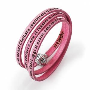 Armbänder AMEN: Armband AMEN Vater Unser Italienisch rosa