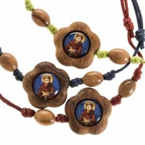 Sonstige Armbände: Armband mit Franz von Assisi aus Olivenholz