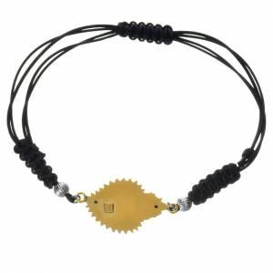 Silber Armbänder: Armband mit Schnur Silber 800 Herz-Votivgabe