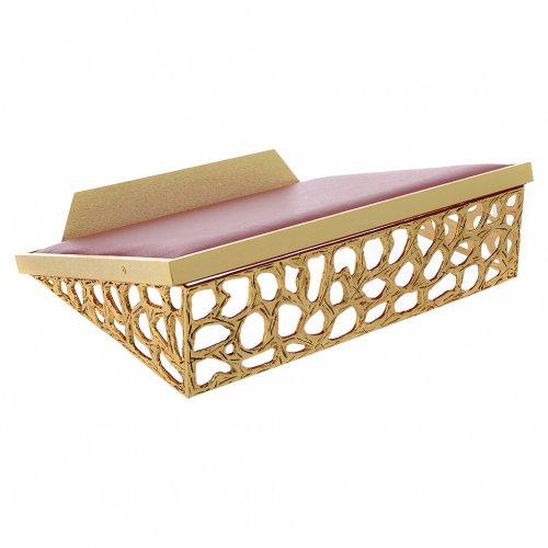 Atril de mesa latón fundido dorado y simil cuero red dorada s1