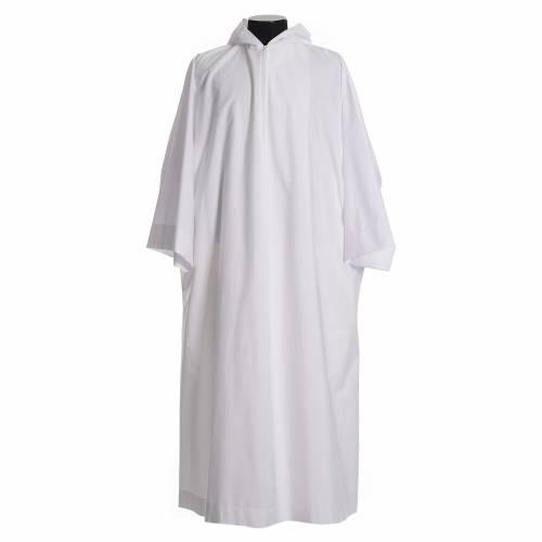 Aube liturgique avec capuchon en coton et polyester s1