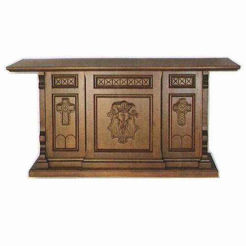 Autel bois style gotique 200x89x98 symbole marial s1