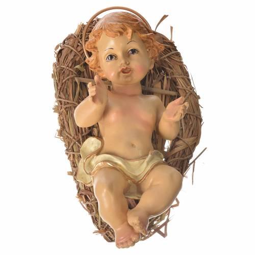 Baby Jesus figurine in straw cradle 25cm s1