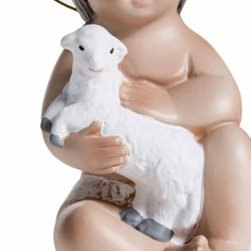 Baby Jesus in plaster with lamb 20cm s5