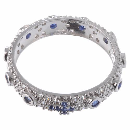 Bague dizainier AMEN argent 925 rhodié zircons bleus Rhodium s2