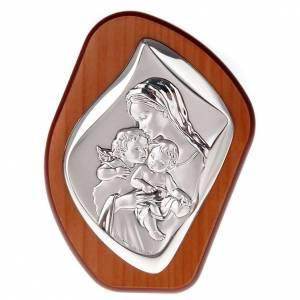 Bajorrelieves de plata: Bajorrelieve plata Virgen con niño y angelito