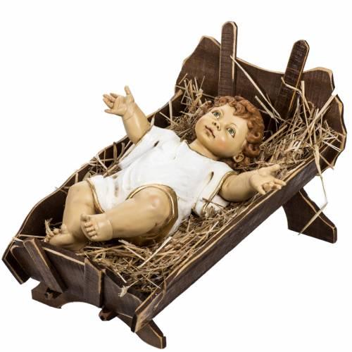 Bambinello vestito e culla in legno 125 cm Fontanini s1