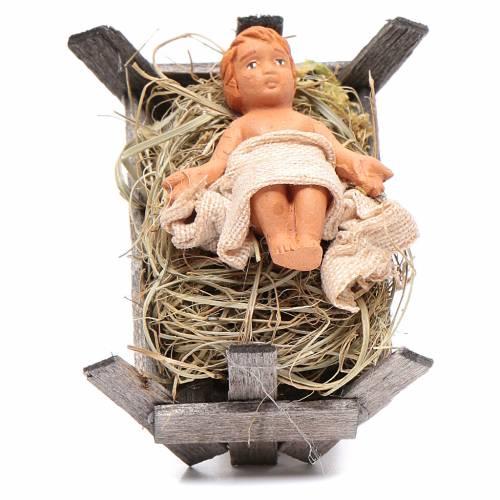 Bambino in culla di legno 10 cm presepe napoletano s1