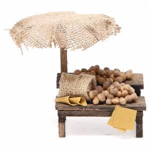 Aliments en miniature: Banc de marché crèche avec oeufs et parasol 12x10x12 cm