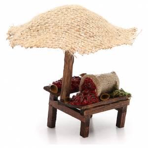 Banc de marché crèche avec parasol et piments 16x10x12 cm s3