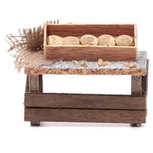 Aliments en miniature: Banc miches de pain 8x9x5 cm pour crèche