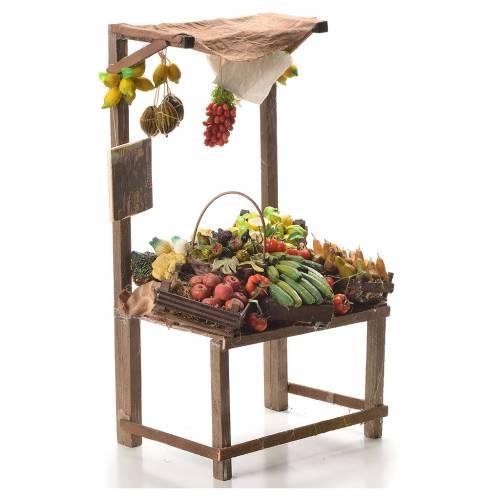 Banco del fruttivendolo in cera per presepe 41x22x15 cm s4