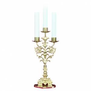 Armleuchter: Barock Kerzenhalter Messing 3 Tüllen 52cm