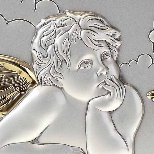 Bas relief argent anges de Raphaël sur nuage s4