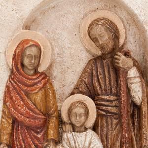 Bas-relief de la Sainte Famille, pierre claire peinte s4
