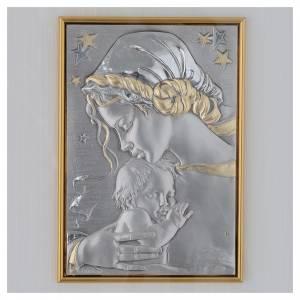 Bas reliefs en argent: Bas relief en argent et or vierge avec enfant et étoiles