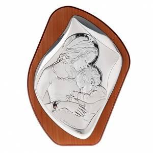 Bas reliefs en argent: Bas relief en argent , mère avec enfant qui dort, aur&eac