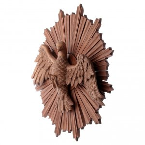 Bas-relief, Holy Spirit in multi-patinated Valgardena wood s2