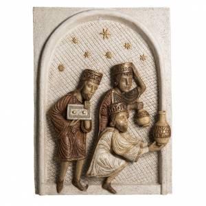 Crèches Monastère de Bethléem: Bas relief Mages grande crèche d'autun blanche