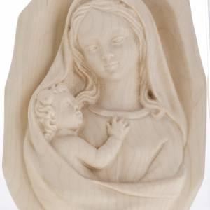 Bas relief Vierge à l'enfant bois naturel s4