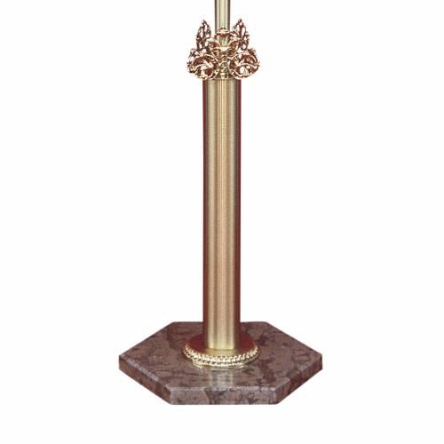 Base croce astile ottone fuso marmo rosso Verona s1