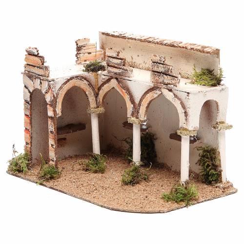 Bâtisse avec porche arabe 28x17x19 cm s2