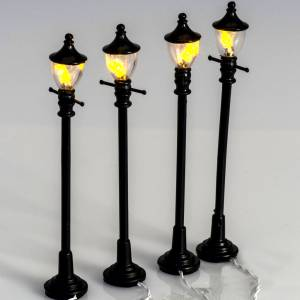 Battery powered street lamps, set of 4, H10cmBattery powered st s2