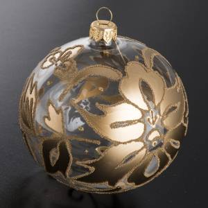 Bauble for Christmas tree, transparent and gold blown glass, 10c s2