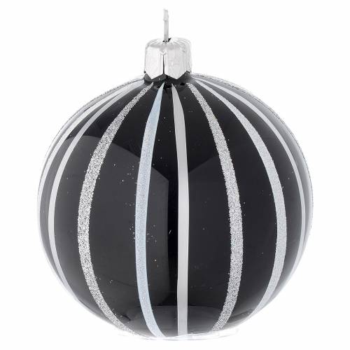 Bauble in black blown glass with silver stripes 80mm s2
