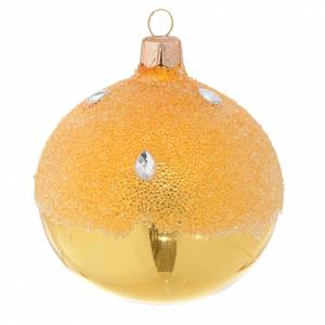 Christmas balls: Bauble in gold blown glass with ice effect decoration 80mm