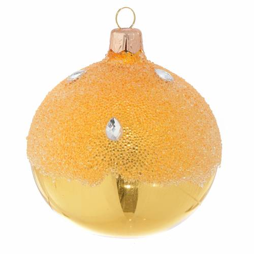 Bauble in gold blown glass with ice effect decoration 80mm s1