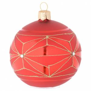 Bauble in red blown glass with geometric motif 80mm s1