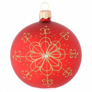 Christmas balls: Bauble in red blown glass with golden flower 80mm