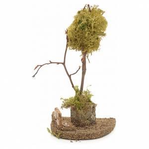 Moos, Stroh und Bäume für Krippe: Baum mit gelber Flechte für Krippe 18cm groß
