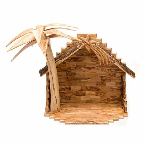 Bethleem olive wood crib 22cm s7