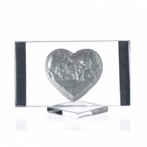 Bonbonniere: Bild Herz und Engeln 4,5x8cm