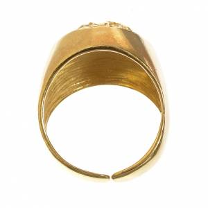 Bishop Ring in gold plated silver 800, Christ's face s3