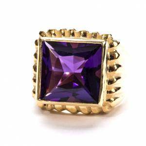 Bishop Ring in gold plated silver 800 with amethyst s3