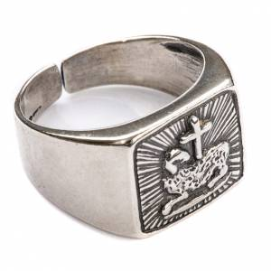 Bishop Ring in silver 800, lamb s1